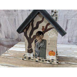 Halloween haunted house wooden birdhouse decor hom
